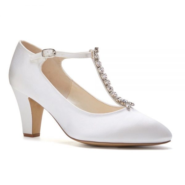 Pink Paradox Amaal - Dyeable Low Heel T-Bar Mary Jane With Diamante Strap