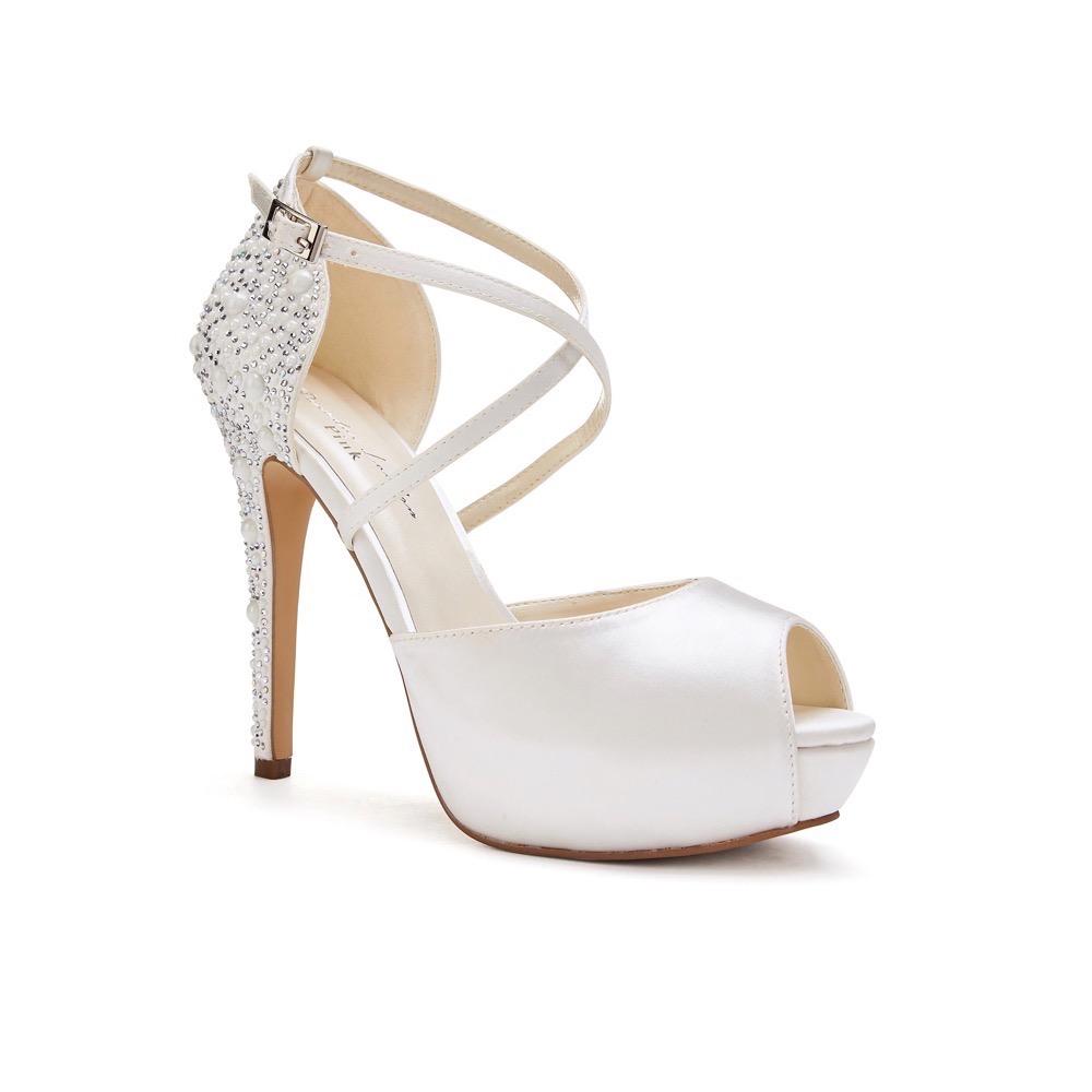 d261674b2 Pink Paradox Hallun - Ivory High Heel Platform Peep Toe With Pearl Detail