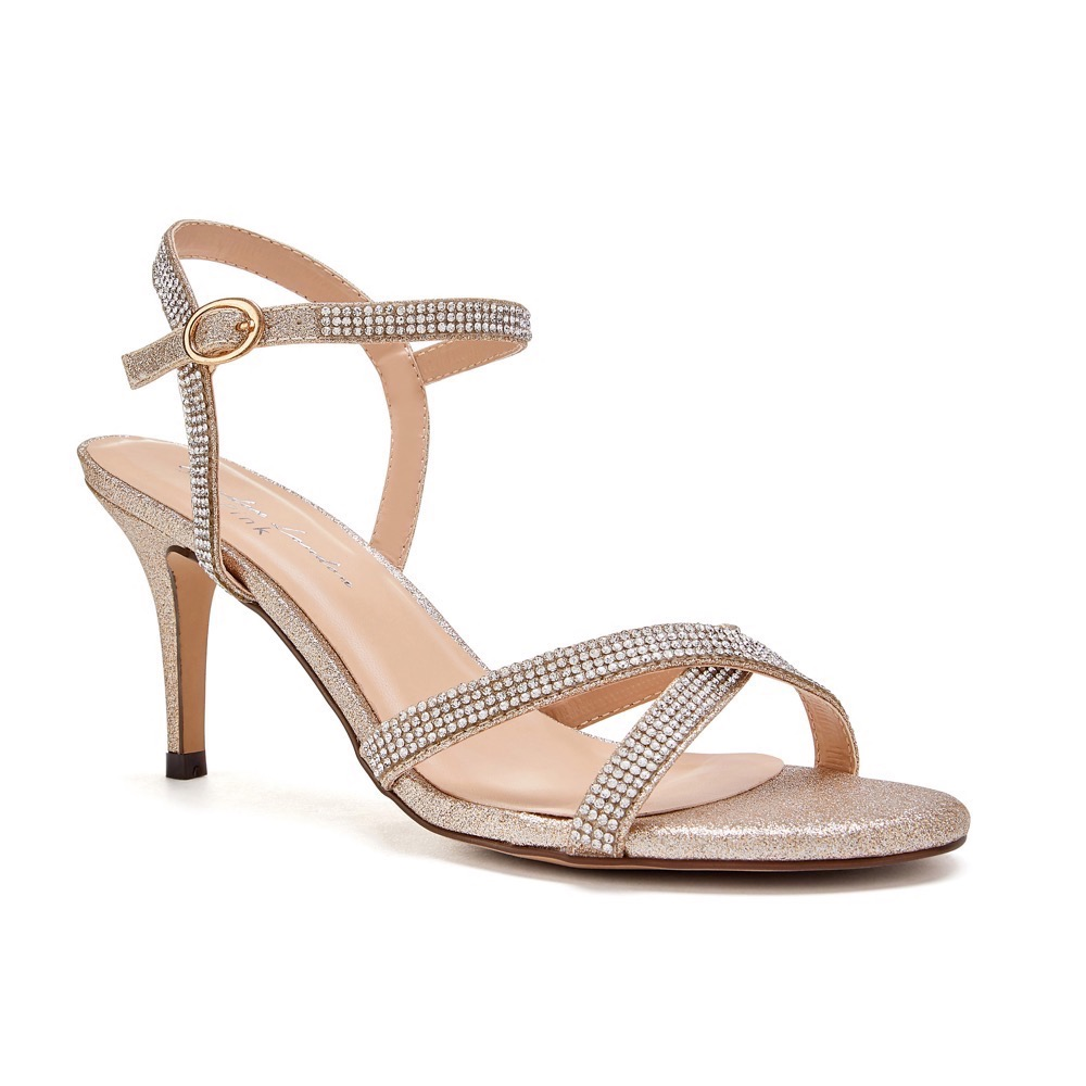Pink Paradox Riva - Champagne Low Heel Ankle Strap Sandal