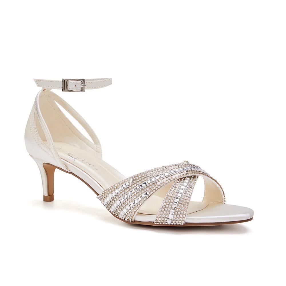 Pink Paradox Sabrina - Ivory Low Heel Crystal Cross Front Strap Sandal