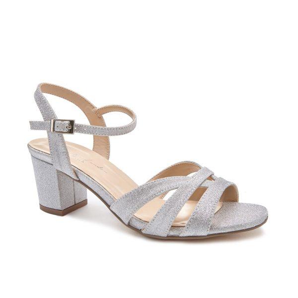 Pink Paradox Latifa Wide Fit - Low Block Heel Champagne Strappy Sandal