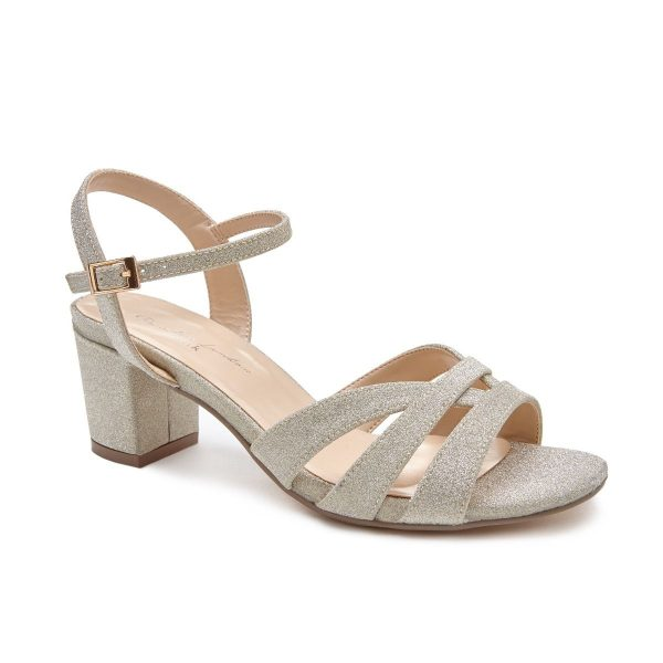 Pink Paradox Latifa Wide Fit - Low Block Heel Silver Strappy Sandal