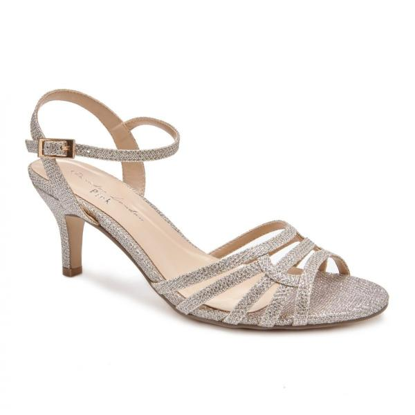 Pink Paradox Laurie Wide Fit - Low Heel Champagne Glitter Strappy Sandal