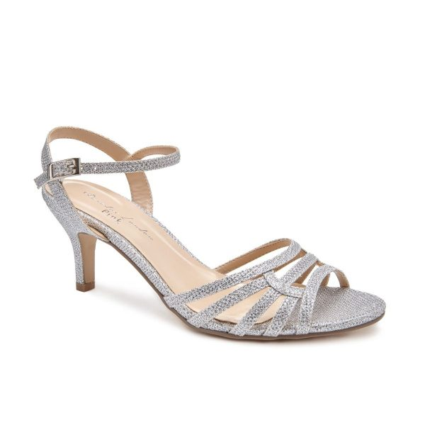 Pink Paradox Laurie Wide Fit - Low Heel Silver Glitter Strappy Sandal