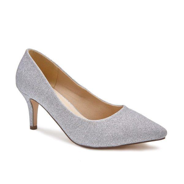 Pink Paradox Lavine Wide Fit - Low Heel Silver Court Shoe