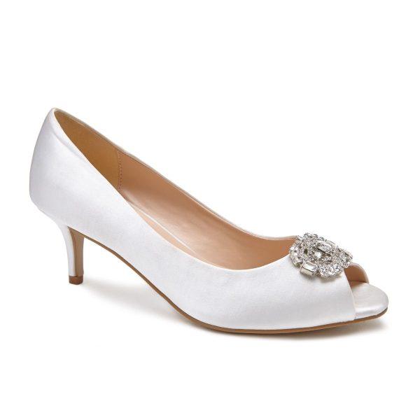 Pink Paradox Prunella - Low Heel Ivory Peep Toe Court Shoe