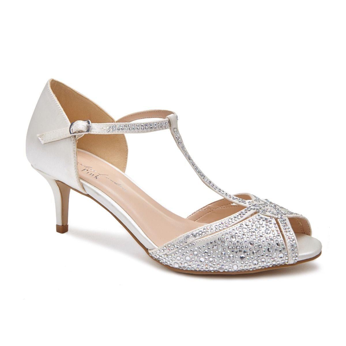 Pink Paradox Seva - Low Heel Ivory Satin Sandal