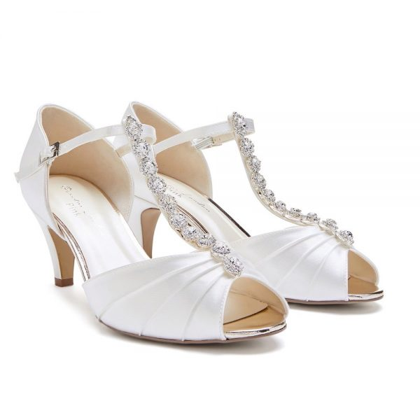 Pink Paradox Beccy Wide Fit - Dyeable Ivory Low Heel T-Bar Peep Toe With Diamante Strap