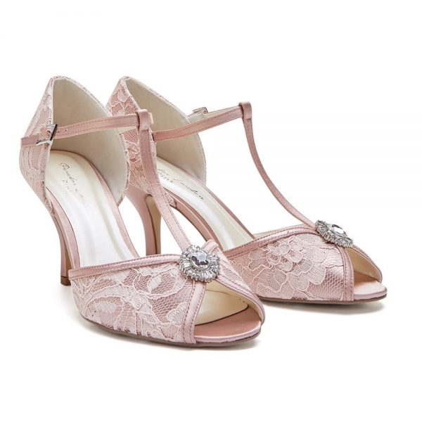 Pink Paradox Charlotte - Low Heel Blush Satin & Lace T-Bar Sandal