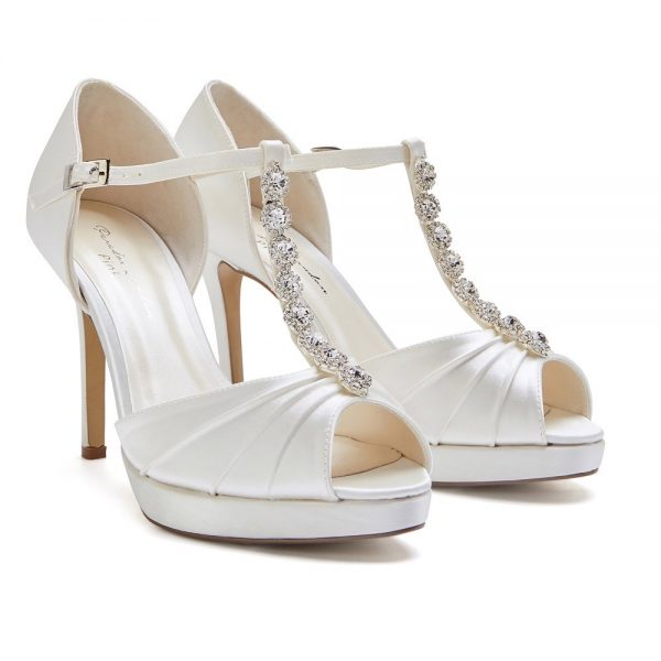 Pink Paradox Cindy - High Heel Ivory T-Bar Platform Sandal