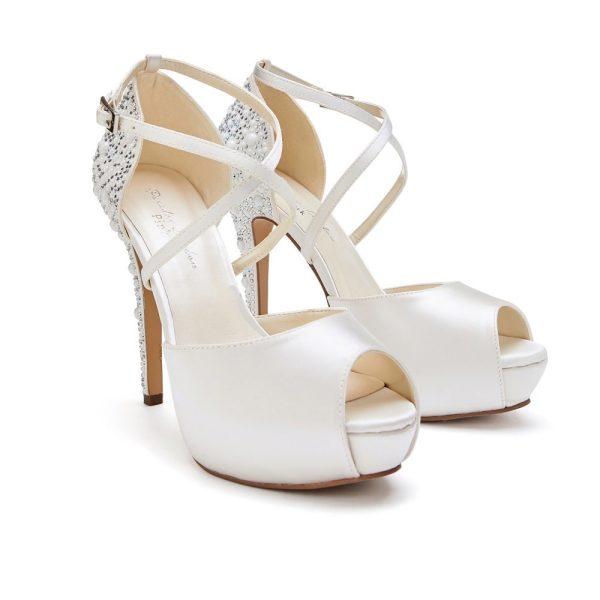 Pink Paradox Hallun - Ivory High Heel Platform Peep Toe With Pearl Detail
