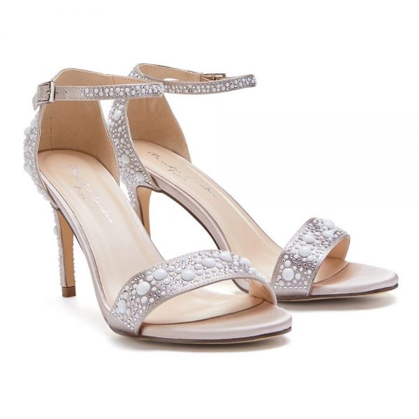 Pink Paradox Hampton - Taupe High Heel Barely There Sandal With Pear Detail