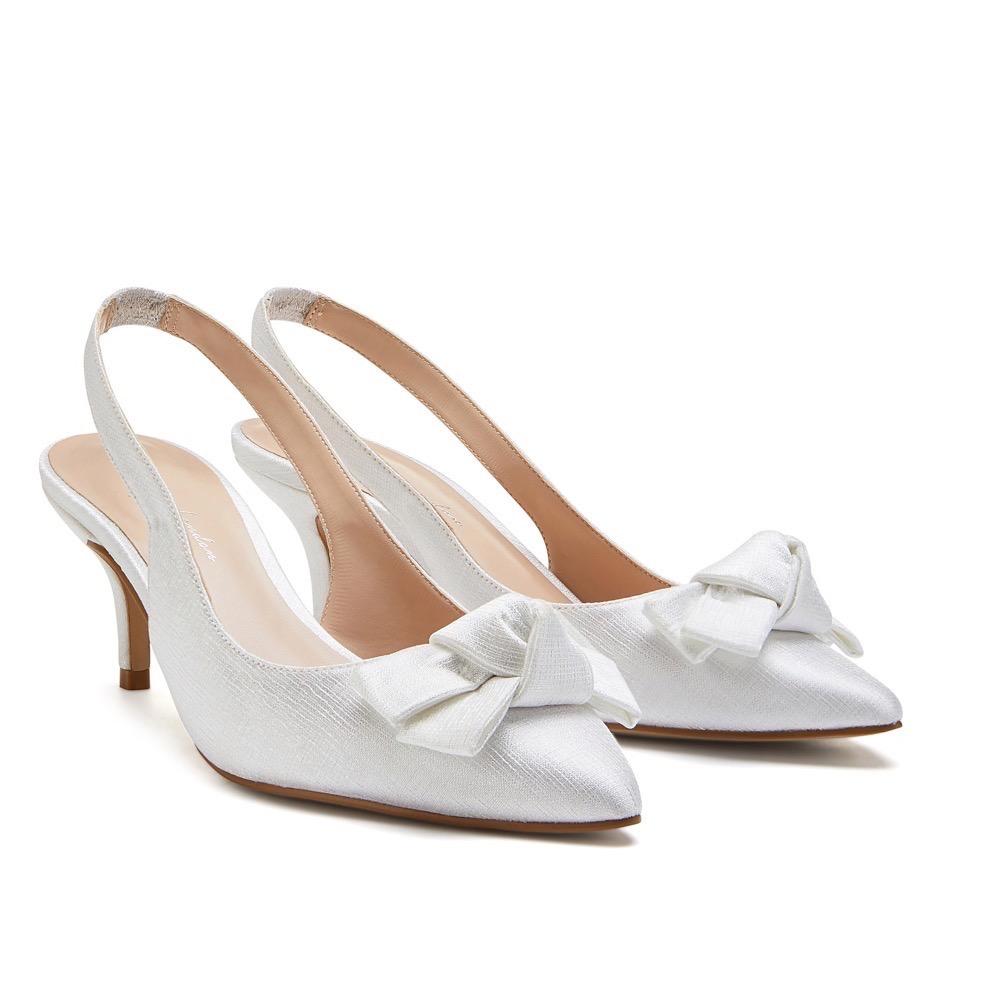 Pink Paradox Kaila - Ivory Shimmer Satin Bridal Shoes