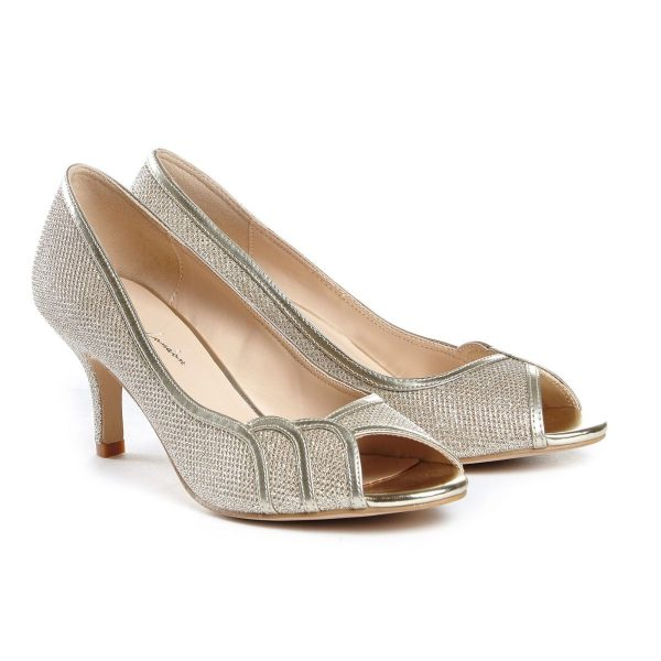 Pink Paradox Gracia Wide Fit - Champagne Low Heel Peep Toe