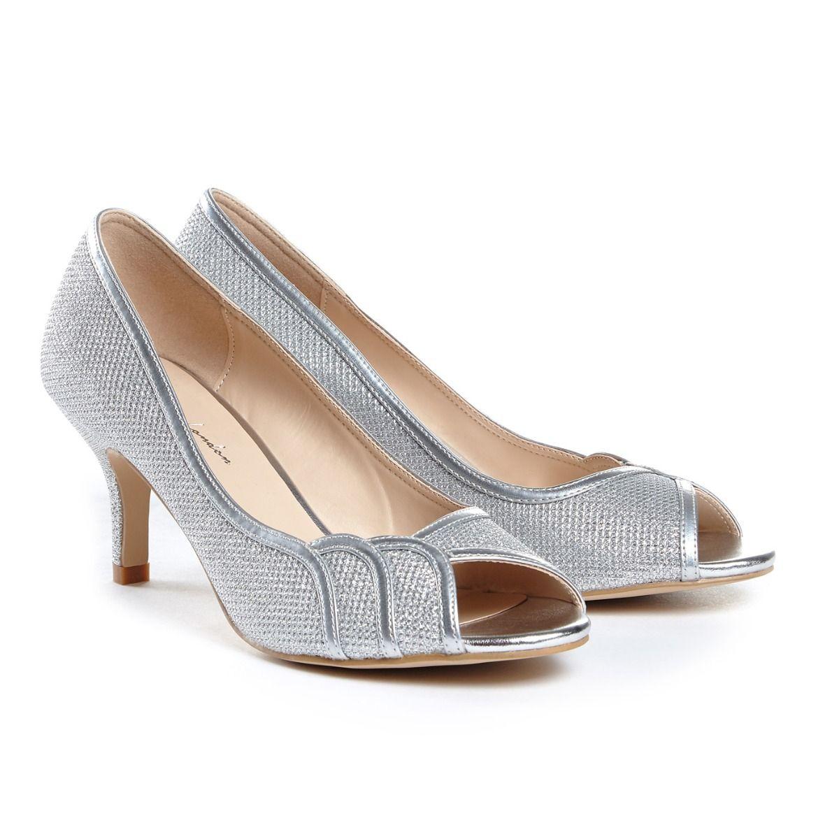 d8685f18b31 Pink Paradox Gracia Wide Fit - Silver Low Heel Peep Toe - Crystal ...