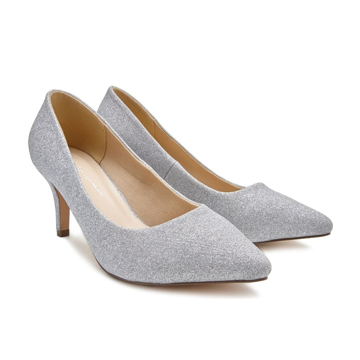031c38b7a Pink Paradox Lavine Wide Fit - Low Heel Silver Court Shoe - Crystal ...
