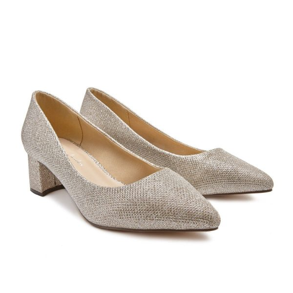 Pink Paradox Lucile Wide Fit - Champagne Glitter Court Shoe