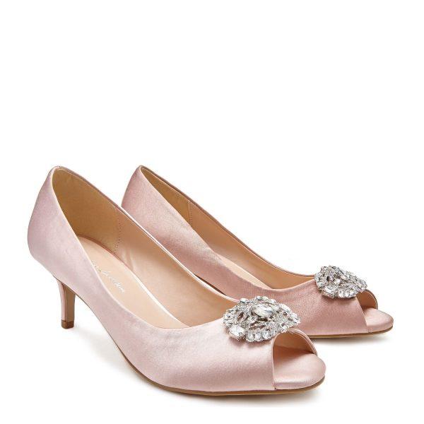 Pink Paradox Prunella - Low Heel Blush Peep Toe Court Shoe
