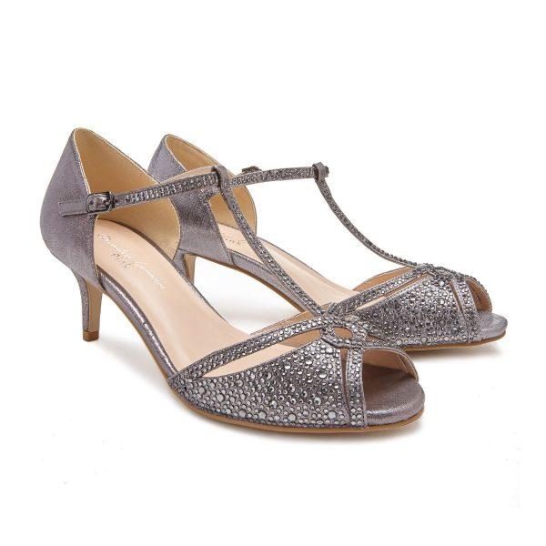 Pink Paradox Seva - Low Heel Pewter Shimmer Sandal