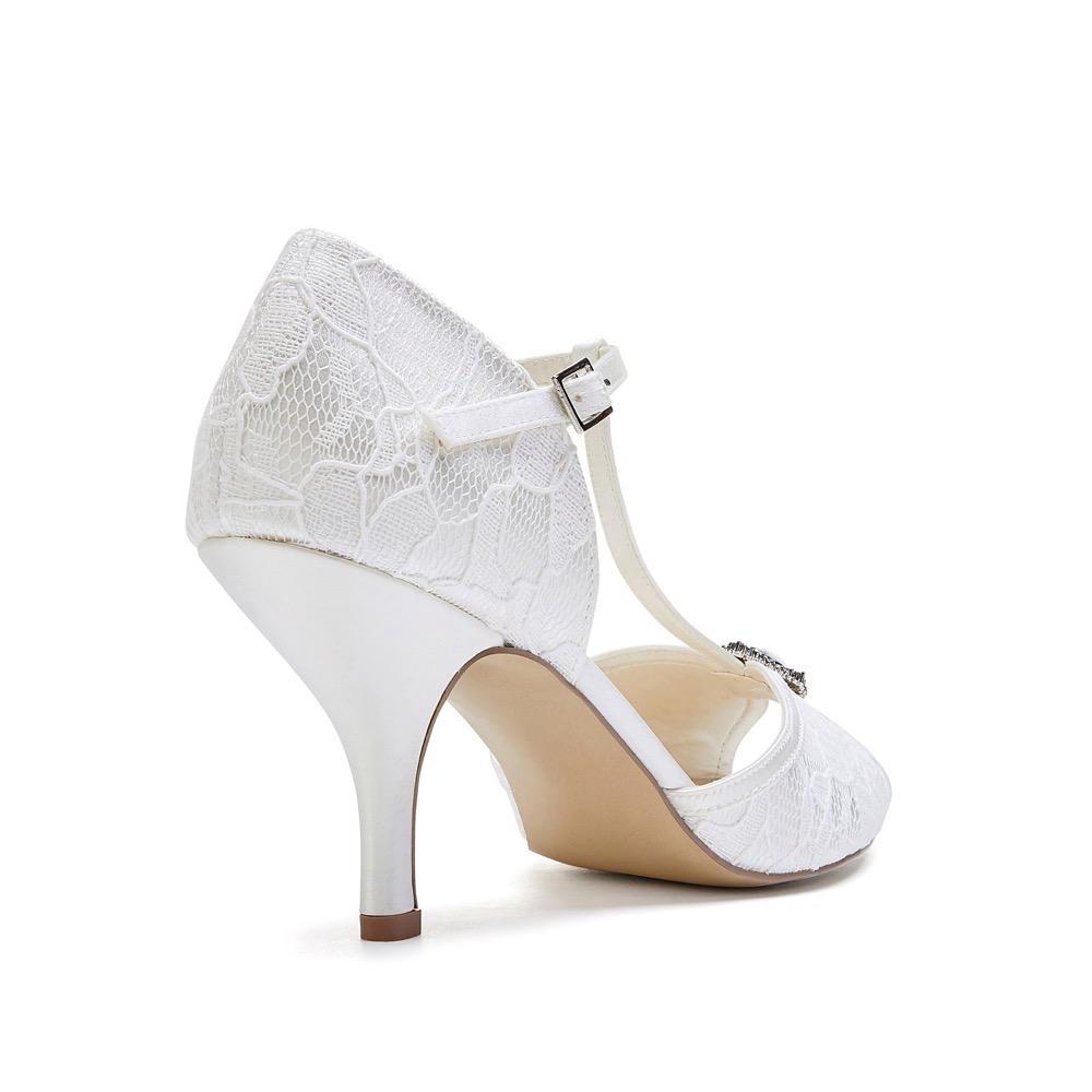 Pink Paradox Charlotte - Low Heel Ivory Satin & Lace T-Bar Sandal