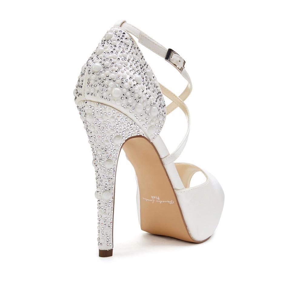 33fdba7f69a Pink Paradox Hallun - Ivory High Heel Platform Peep Toe With Pearl Detail
