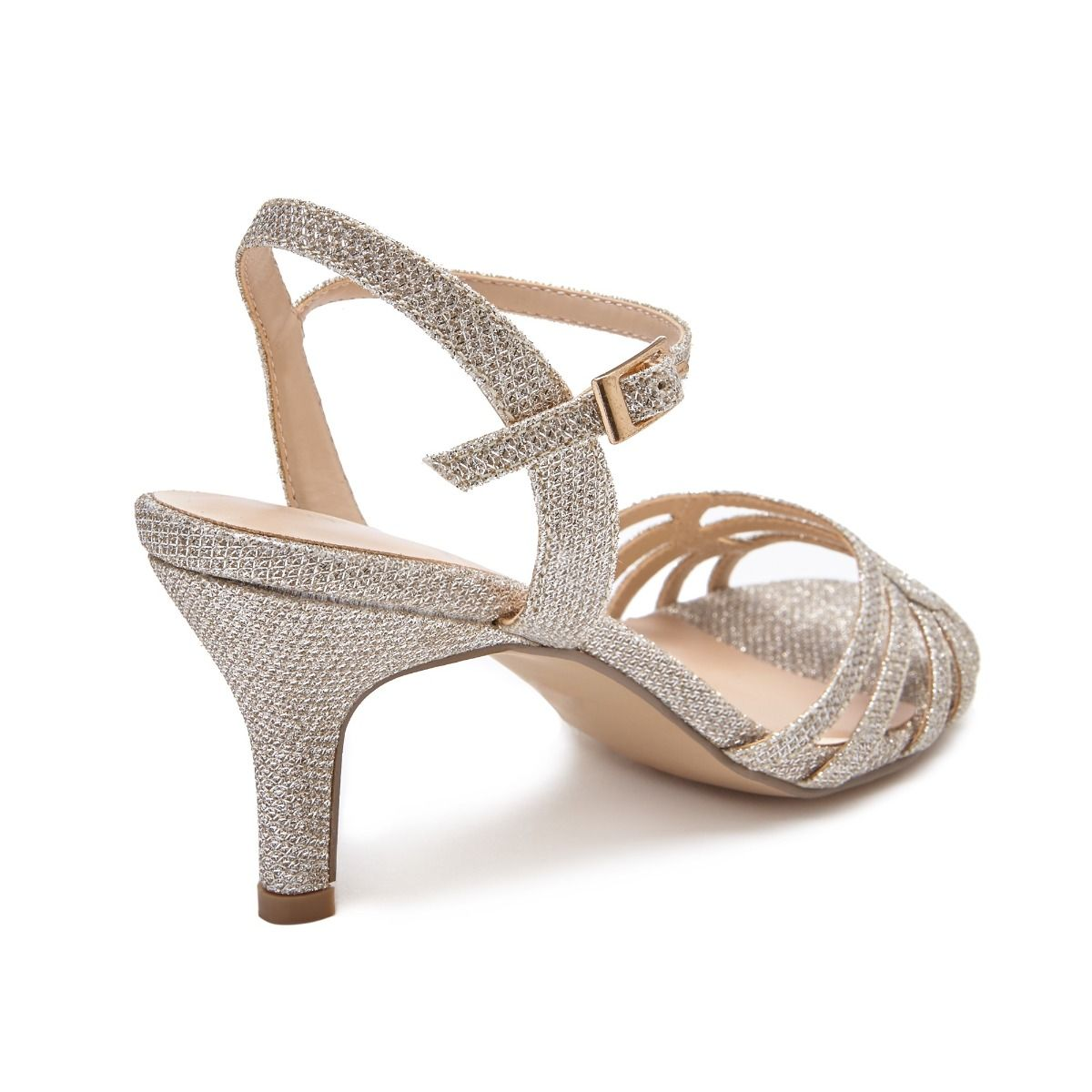 36474b2b9d Pink Paradox Laurie Wide Fit - Low Heel Champagne Glitter Strappy Sandal