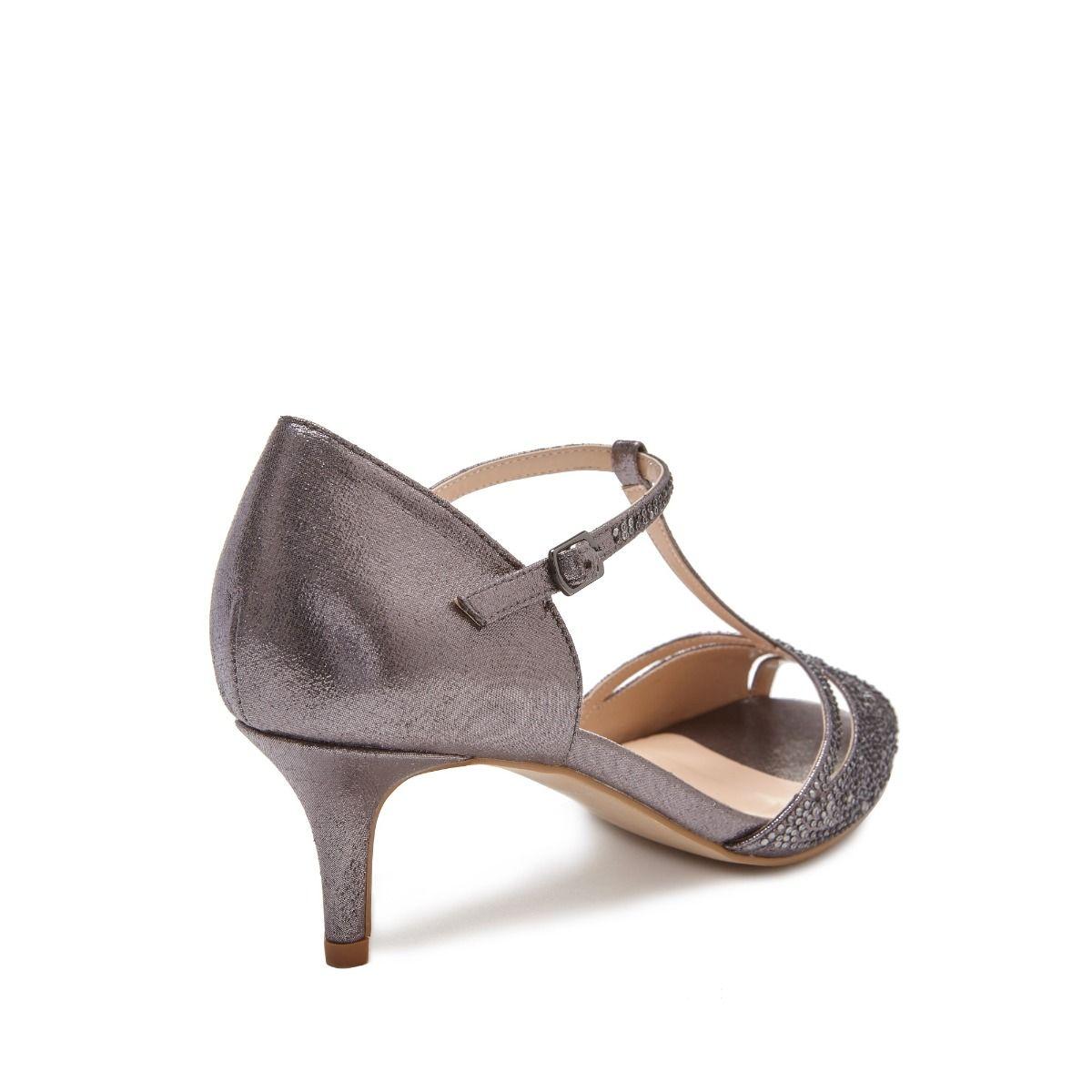 Pewter Heels For Wedding: Low Heel Pewter Shimmer Sandal