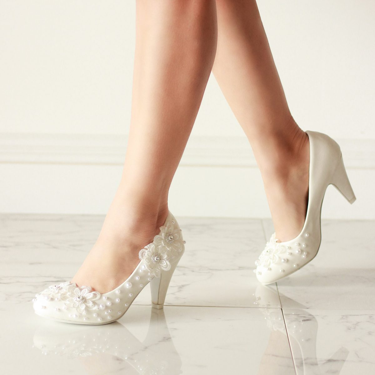 Pink Paradox Uma - White High Heel Embellished Court Shoe