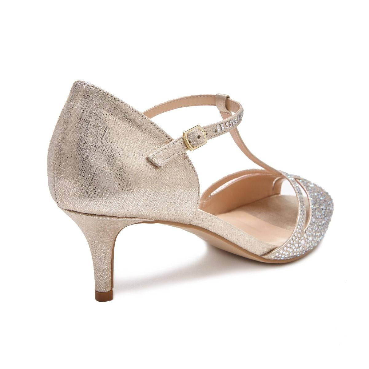 Pink Paradox Seva - Low Heel Champagne Shimmer Sandal