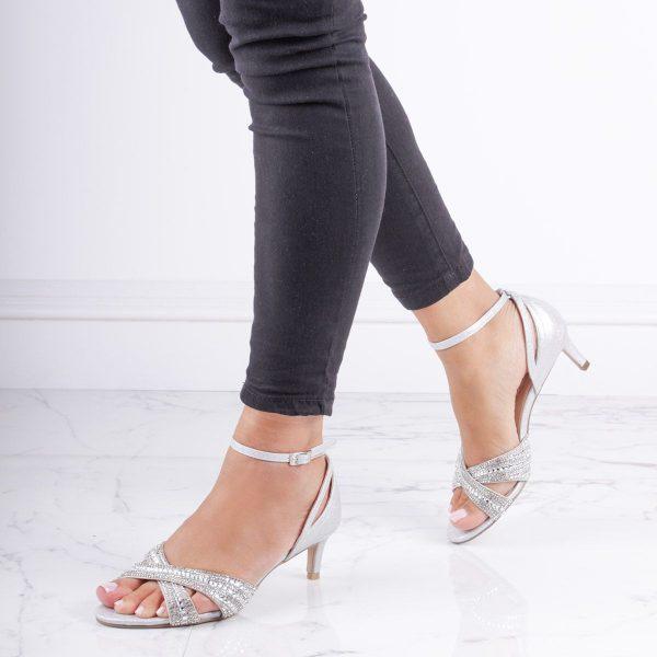Pink Paradox Sabrina - Silver Low Heel Crystal Cross Front Strap Sandal