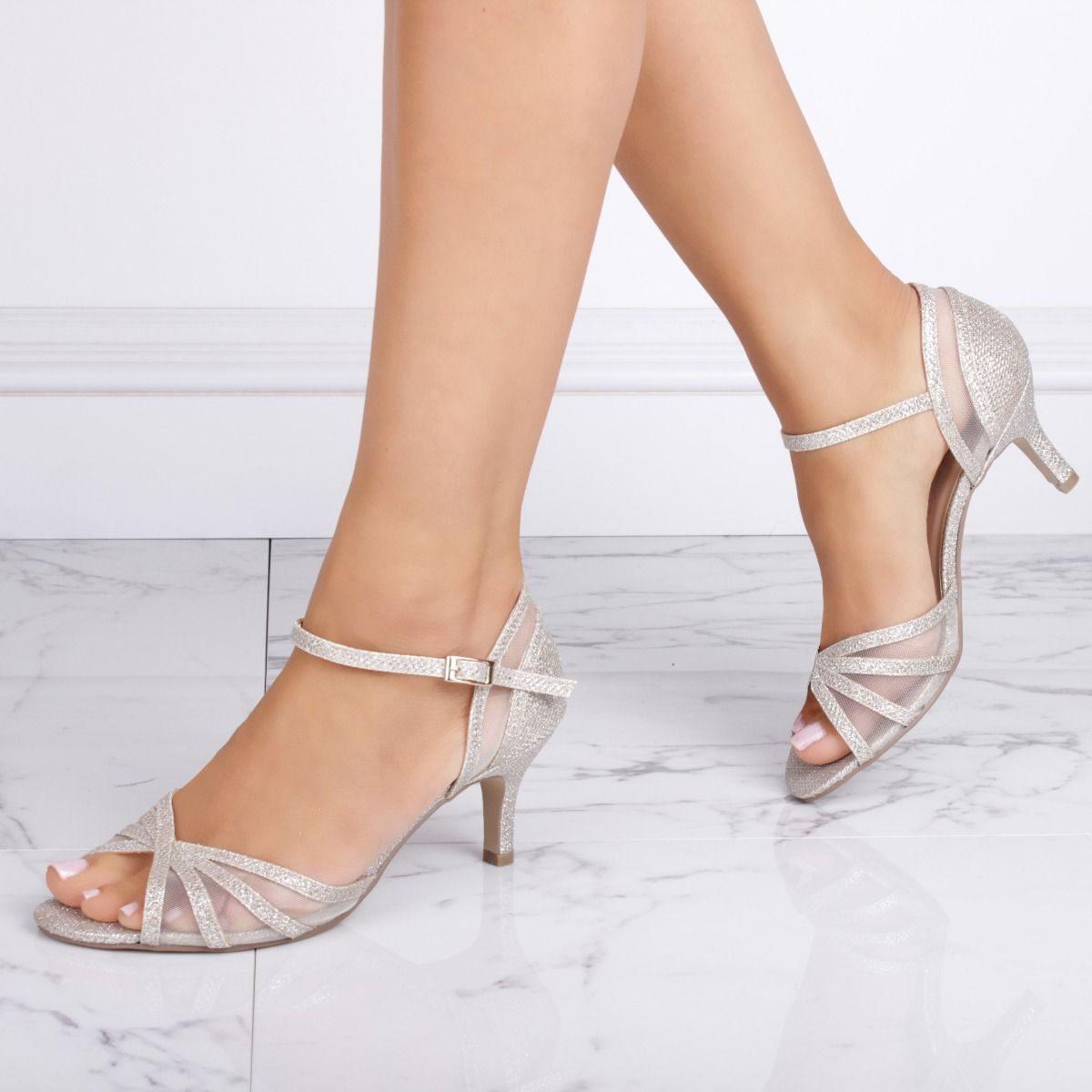 Pink Paradox Sonya Wide Fit - Champagne Low Heel Mesh Detail Sandal