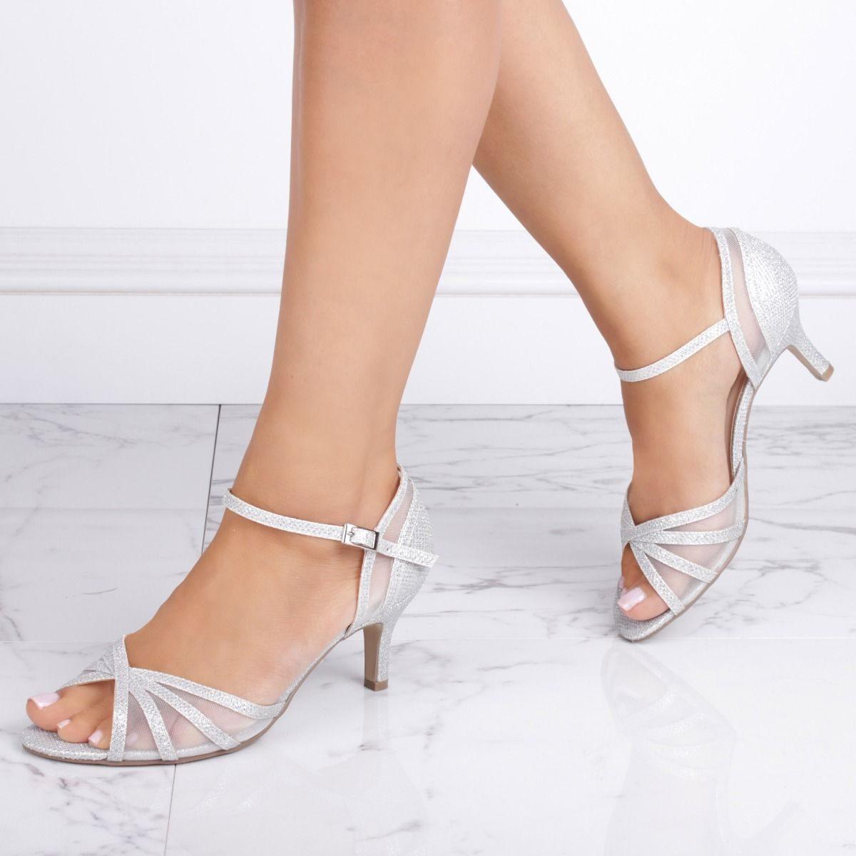 Pink Paradox Sonya Wide Fit - Silver Low Heel Mesh Detail Sandal