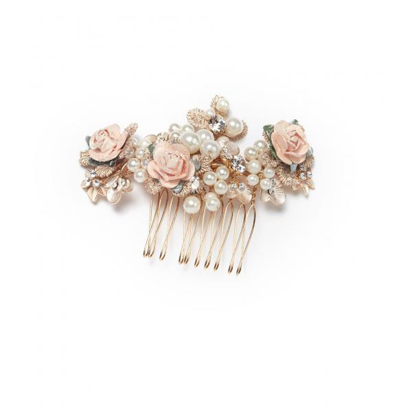 Poirier Ailysh Porcelain Flowers and Pearls Comb