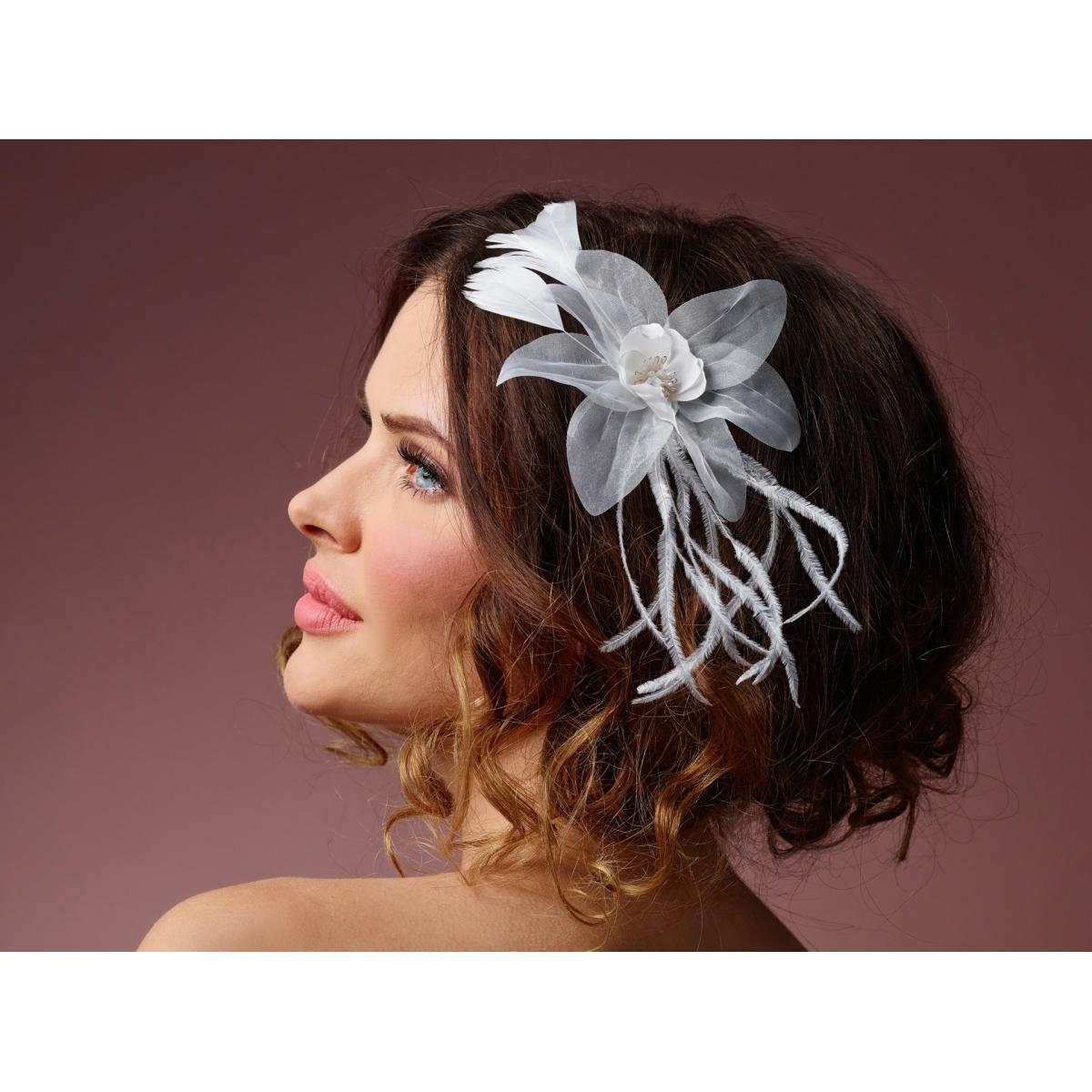Poirier Ali Floral & Feather Corsage on Clip
