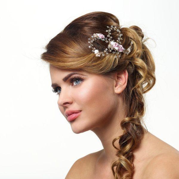Poirier Amber Hair Comb Rosa flowers