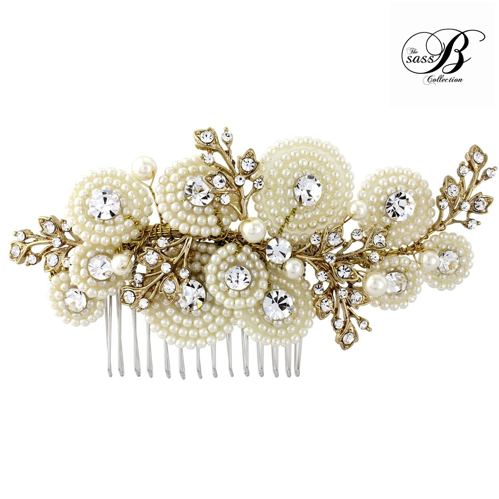 Amelia Gold Pearl Wedding Comb