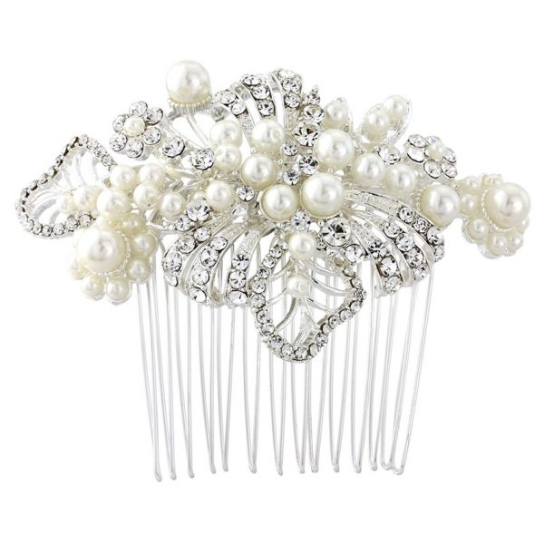 Angeline Leaf Pearl Wedding Comb