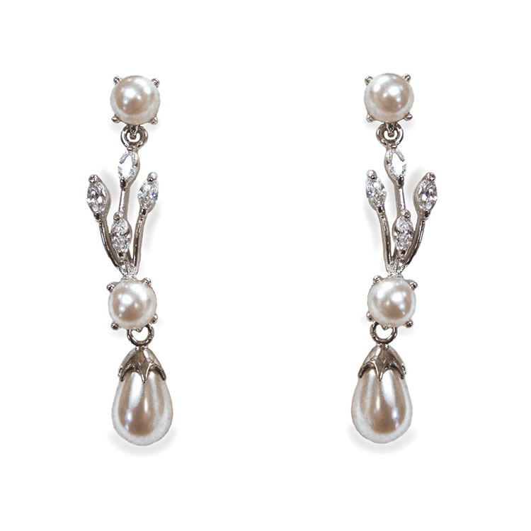 Ivory and Co Belgravia Cubic Zirconia and Pearl Earrings