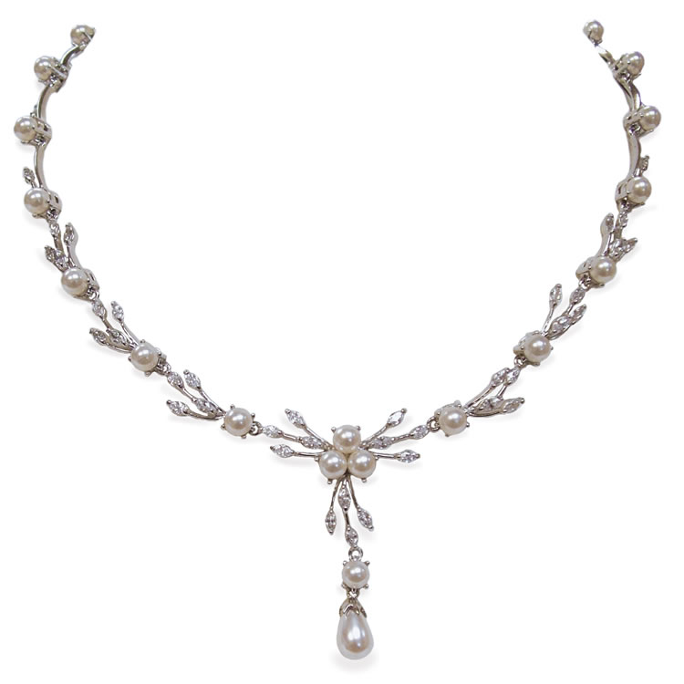 Ivory and Co Belgravia Cubic Zirconia and Pearl Necklace