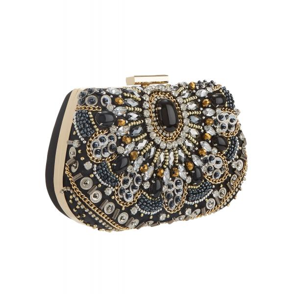 Mascara Black and Gold Jewelled Bag