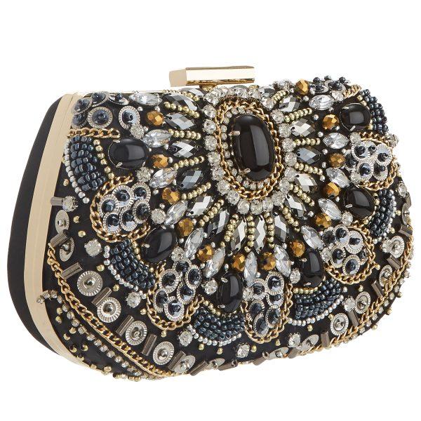 Mascara Black and Gold Jewelled Bag