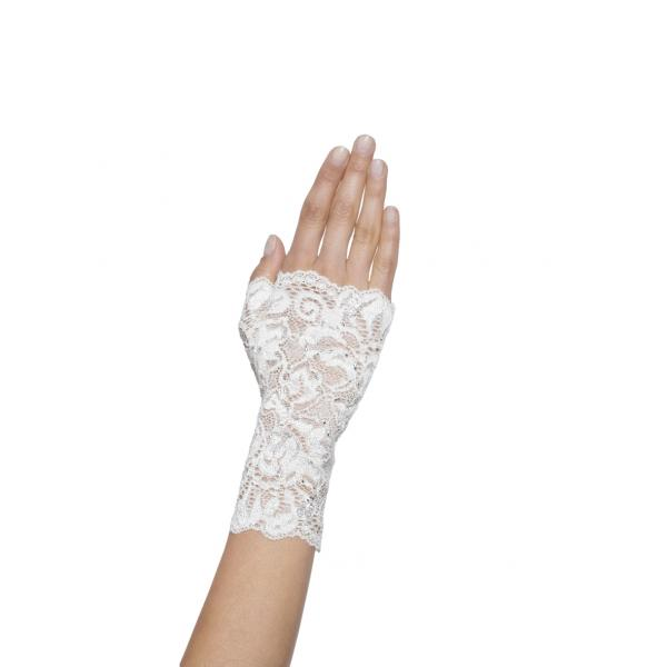 Poirier Floriana Fingerless Lace Glove - White