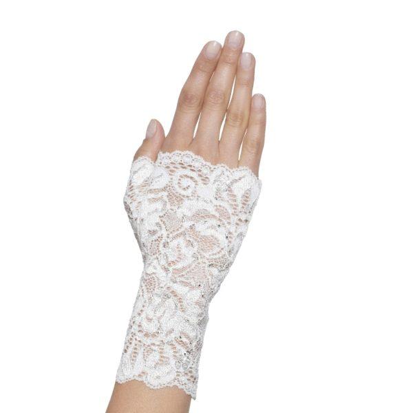 Poirier Floriana Fingerless Lace Glove-Ivory