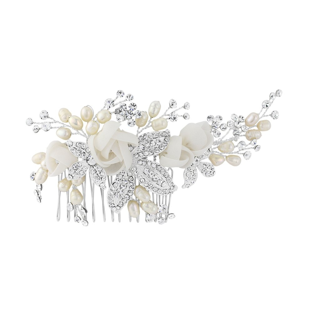 Freya Fabric Rose Wedding Comb