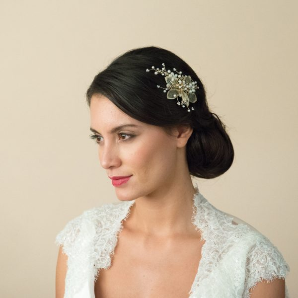 Ivory and Co Gold Pearl Flower Comb