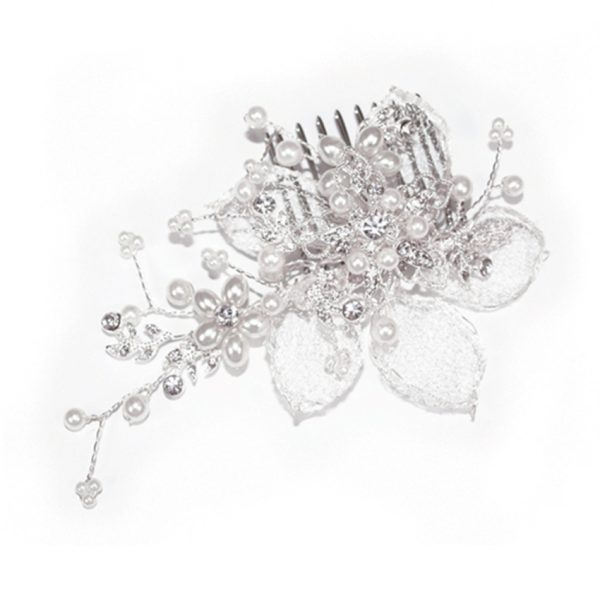 Ivory and Co Silver Pearl Flower Comb