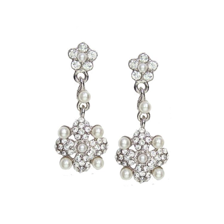 Juliet Swarovski Crystal and Pearl Earrings