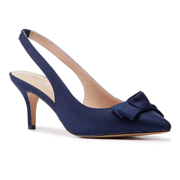 Pink Paradox Kaila - Navy Shimmer Satin Bridal Shoes