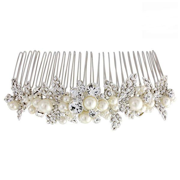 Maisie Leaf Pearl Veil Comb