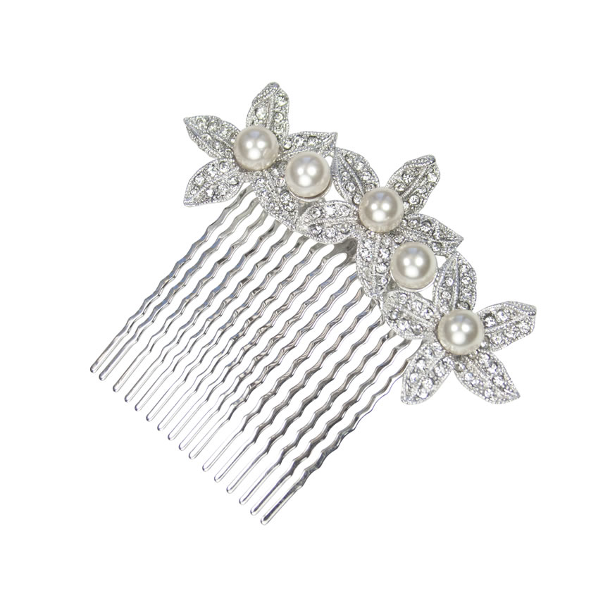 Pearl and Crystal Flower Bridal Comb